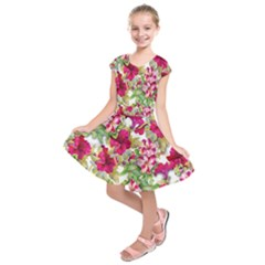 Red Flowers Kids  Short Sleeve Dress by goljakoff