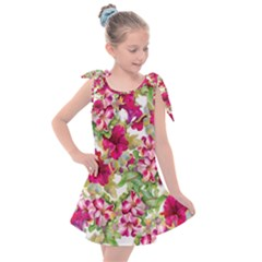 Red Flowers Kids  Tie Up Tunic Dress by goljakoff