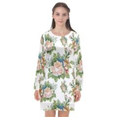 Summer Flowers Pattern Long Sleeve Chiffon Shift Dress