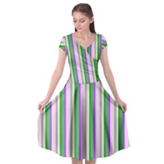 Candy Stripes 2 Cap Sleeve Wrap Front Dress