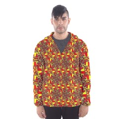 Red Yellow 1 Hooded Windbreaker (men) by ArtworkByPatrick