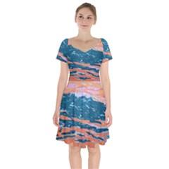 Blissful Short Sleeve Bardot Dress by arwwearableart