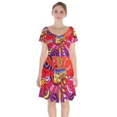 Boho Hippie Bus Short Sleeve Bardot Dress