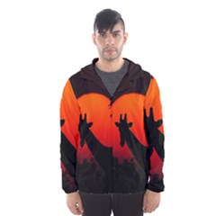 Giraffe Animal Africa Sunset Hooded Windbreaker (men) by Sudhe