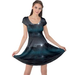 Skyline Night Star Sky Moon Sickle Cap Sleeve Dress