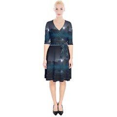Skyline Night Star Sky Moon Sickle Wrap Up Cocktail Dress by Sudhe