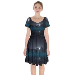 Skyline Night Star Sky Moon Sickle Short Sleeve Bardot Dress