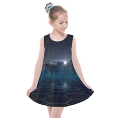 Skyline Night Star Sky Moon Sickle Kids  Summer Dress by Sudhe