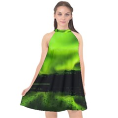 Aurora Borealis Northern Lights Sky Halter Neckline Chiffon Dress  by Sudhe
