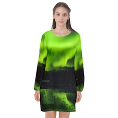 Aurora Borealis Northern Lights Sky Long Sleeve Chiffon Shift Dress
