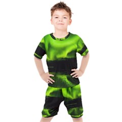 Aurora Borealis Northern Lights Sky Kids  Tee And Shorts Set by Sudhe