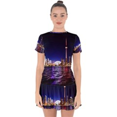 Toronto City Cn Tower Skydome Drop Hem Mini Chiffon Dress