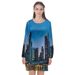 Frankfurt Germany Panorama City Long Sleeve Chiffon Shift Dress