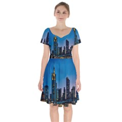 Frankfurt Germany Panorama City Short Sleeve Bardot Dress