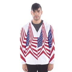 A Star With An American Flag Pattern Hooded Windbreaker (men) by Sudhe