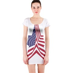 A Star With An American Flag Pattern Short Sleeve Bodycon Dress by Sudhe