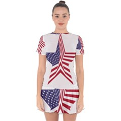 A Star With An American Flag Pattern Drop Hem Mini Chiffon Dress