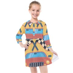 Automobile Car Checkered Drive Kids  Quarter Sleeve Shirt Dress by Sudhe