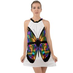 Abstract Animal Art Butterfly Halter Tie Back Chiffon Dress by Sudhe