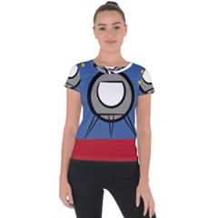 A Rocket Ship Sits On A Red Planet With Gold Stars In The Background Short Sleeve Sports Top  by Sudhe
