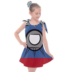 A Rocket Ship Sits On A Red Planet With Gold Stars In The Background Kids  Tie Up Tunic Dress by Sudhe