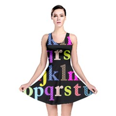 Alphabet Letters Colorful Polka Dots Letters In Lower Case Reversible Skater Dress