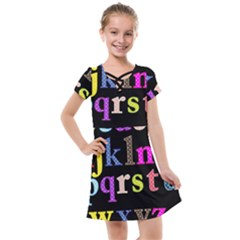 Alphabet Letters Colorful Polka Dots Letters In Lower Case Kids  Cross Web Dress by Sudhe