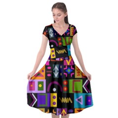 Abstract A Colorful Modern Illustration Cap Sleeve Wrap Front Dress