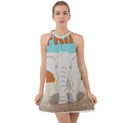 Africa Elephant Animals Animal Halter Tie Back Chiffon Dress by Sudhe