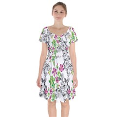 Drawing Flowers Short Sleeve Bardot Dress by goljakoff