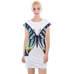A Colorful Butterfly Cap Sleeve Bodycon Dress