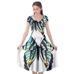 A Colorful Butterfly Cap Sleeve Wrap Front Dress by Sudhe