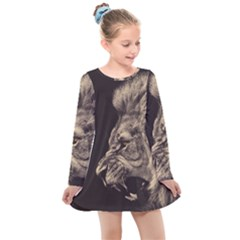 Angry Male Lion Kids  Long Sleeve Dress by Sudhe