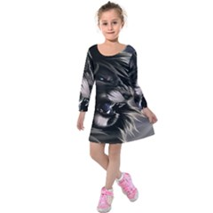 Angry Lion Digital Art Hd Kids  Long Sleeve Velvet Dress by Sudhe