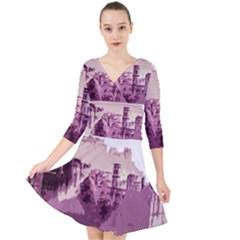 Abstract Painting Edinburgh Capital Of Scotland Quarter Sleeve Front Wrap Dress
