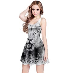Lion Wildlife Art And Illustration Pencil Reversible Sleeveless Dress