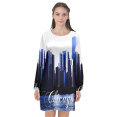 Abstract Of Downtown Chicago Effects Long Sleeve Chiffon Shift Dress  by Sudhe
