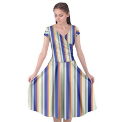 Candy Stripes 3 Cap Sleeve Wrap Front Dress