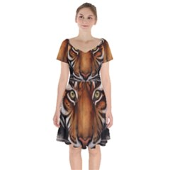 The Tiger Face Short Sleeve Bardot Dress
