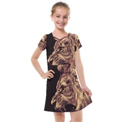Angry Male Lion Gold Kids  Cross Web Dress by Sudhe