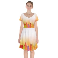 Autumn Leaves Colorful Fall Foliage Short Sleeve Bardot Dress