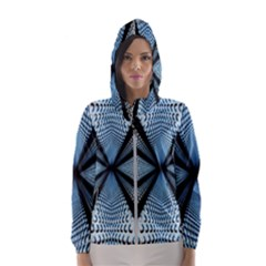 6th Dimension Metal Abstract Obtained Through Mirroring Hooded Windbreaker (women) by Sudhe