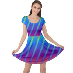 Abstract Fractal Multicolored Background Cap Sleeve Dress