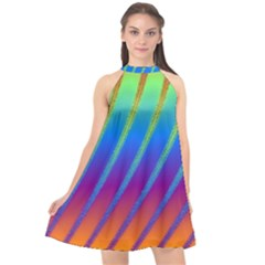 Abstract Fractal Multicolored Background Halter Neckline Chiffon Dress  by Sudhe