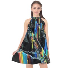 Abstract 3d Blender Colorful Halter Neckline Chiffon Dress  by Sudhe