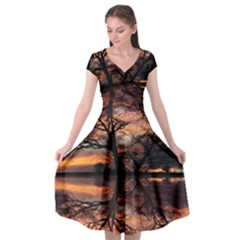 Aurora Sunset Sun Landscape Cap Sleeve Wrap Front Dress by Sudhe