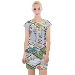 Simple Map Of The City Cap Sleeve Bodycon Dress by Sudhe