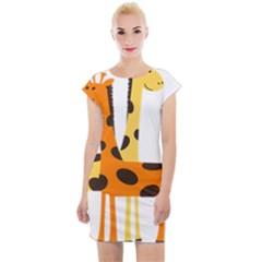 Giraffe Africa Safari Wildlife Cap Sleeve Bodycon Dress