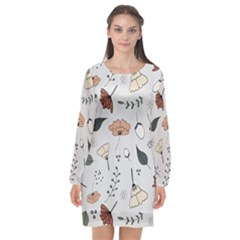 Grey Toned Pattern Long Sleeve Chiffon Shift Dress