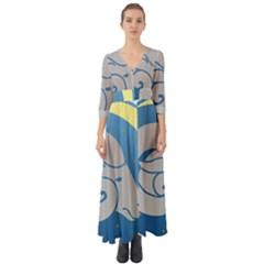Ram Zodiac Sign Zodiac Moon Star Button Up Boho Maxi Dress